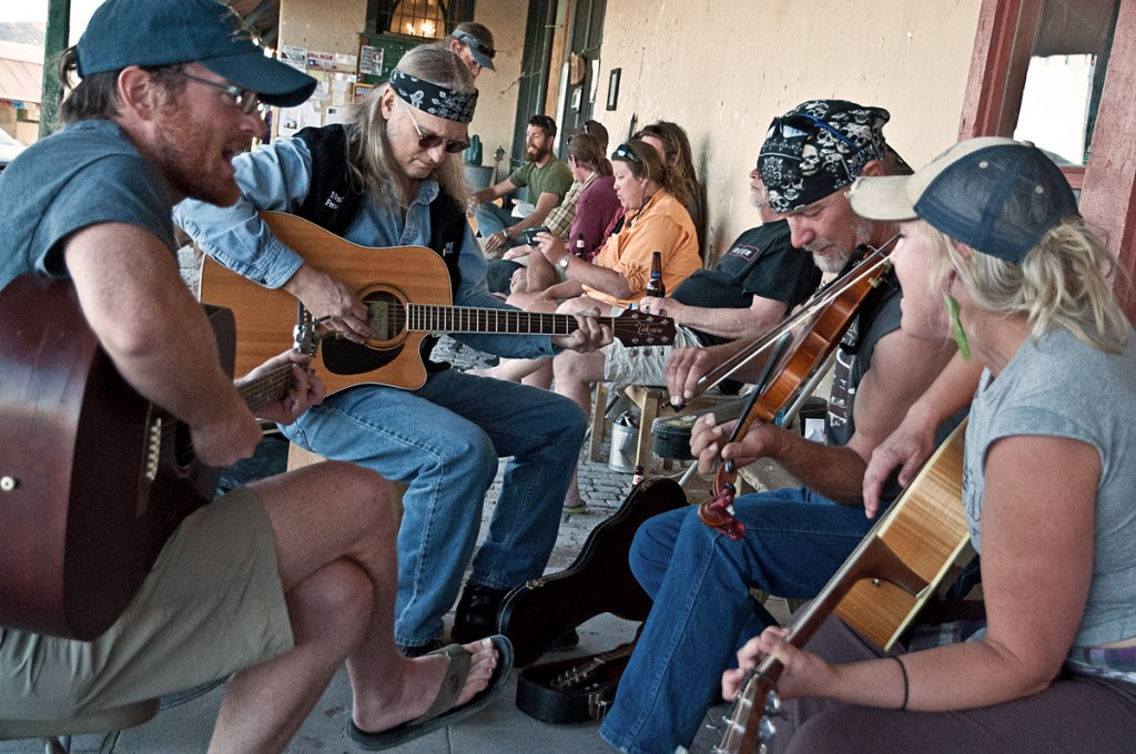 musicians on the porch in Terlingua
