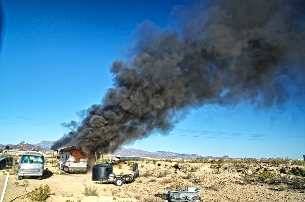 Motor home goes up in smoke.