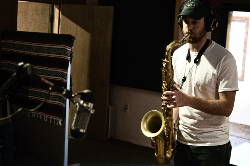 Local sax-whiz Chase Peeler tracking in studio 1